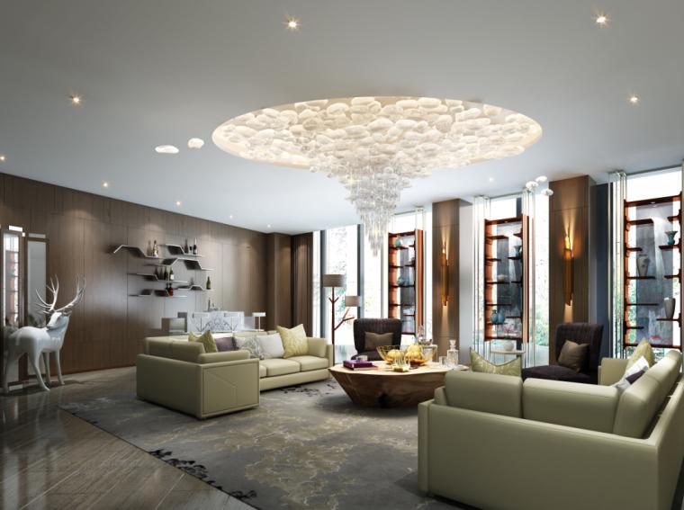 [上海]某豪华酒店样板房施工图+效果图+物料表