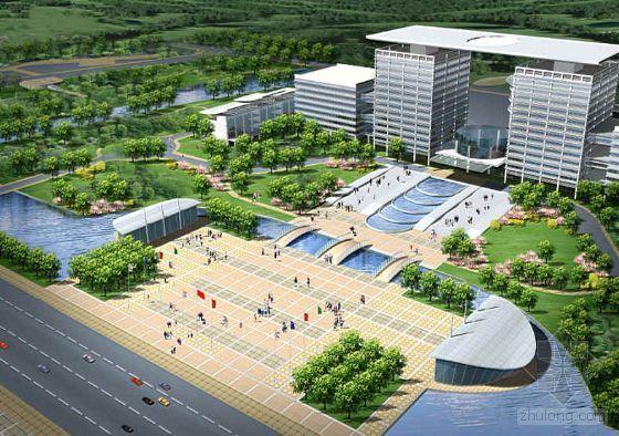 浙江某市新区中轴广场群景观设计鸟瞰图