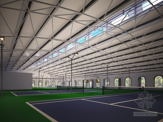 现代室内网球场3D模型