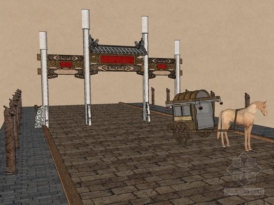 仿古牌楼sketchup模型下载