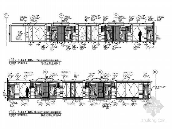 [广东]全球连锁尊贵五星级国际豪华酒店设计装修施工图客房走廊立面图