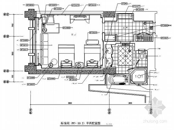 [北京]精装豪华酒店标准间装修施工图