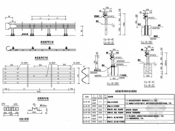 [重庆]泵站道路工程波形梁护栏施工图设计11张