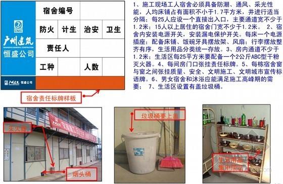 [广州]建设工程公司施工现场视觉识别文明施工综合管理标准化-宿舍区消防、宣传、卫生布置