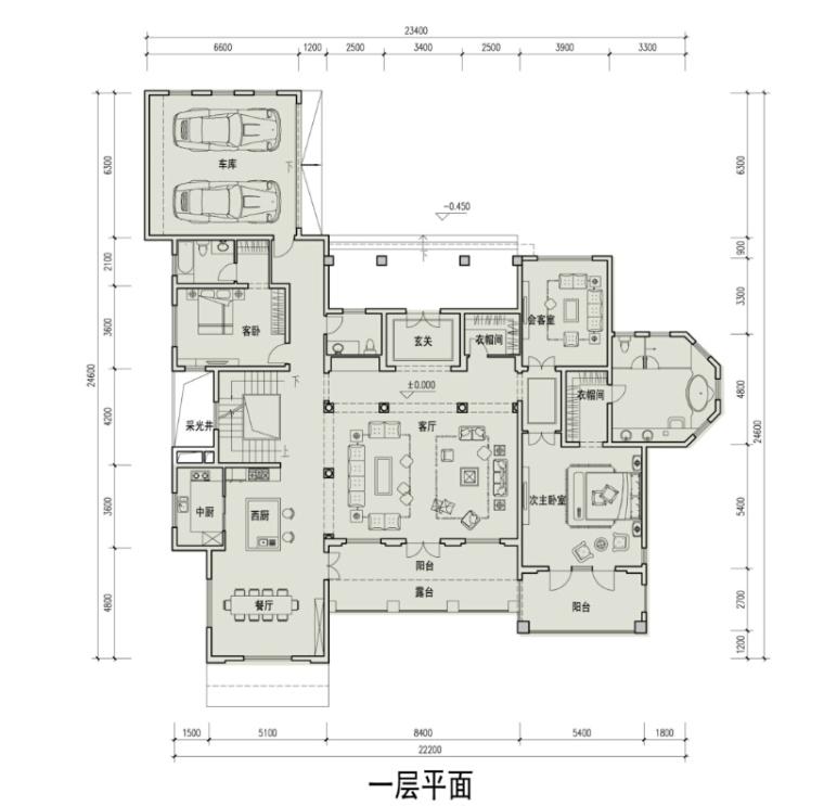 [广东]滨海大型地知名地产风格独栋别墅设计方案文本-滨海大型地知名地产风格独栋别墅平面图