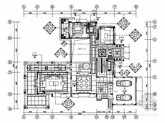 [广州]名师某豪华双层别墅室内装修施工图