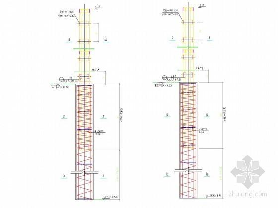 深基坑支护灌注桩内插350×350格构柱节点详图
