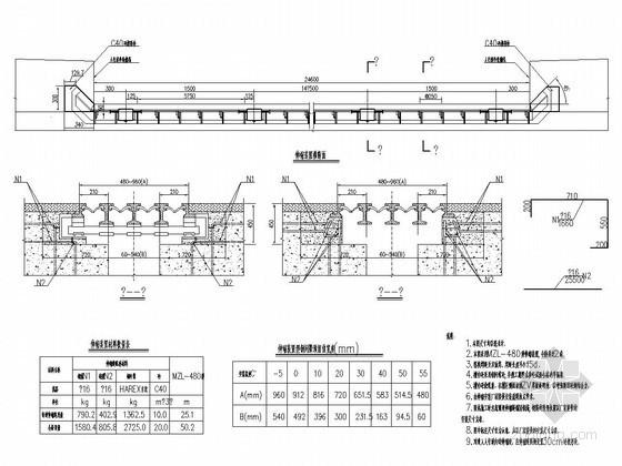 MZL-480型伸缩缝构造图CAD