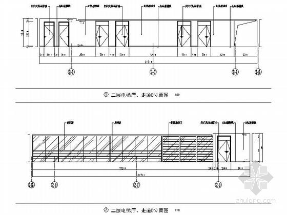 [江苏]省级产品质量检验事业单位现代检验楼装修施工图(含效果)电梯厅走道立面图