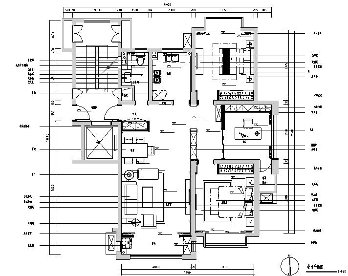东方明珠三居室样板房设计施工图(附效果图)