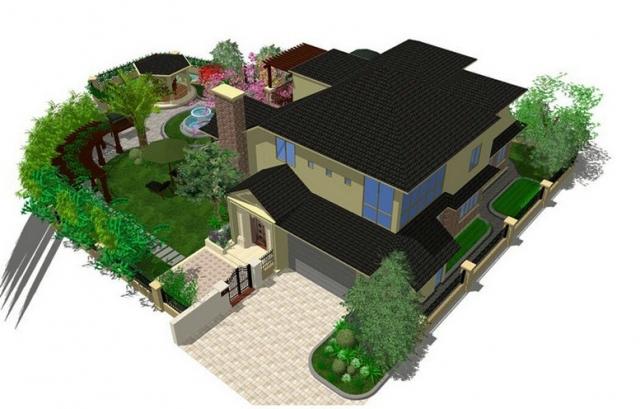 知名地产庄园整体图与室内效果图