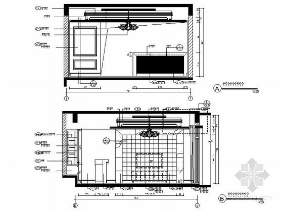[成都]北美风格三层别墅样板间室内装修图(含方案文本) 家庭影院立面