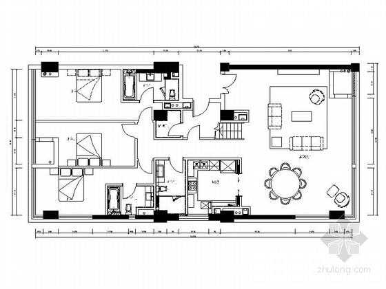 [上海]loft风格183平公寓室内装修施工图