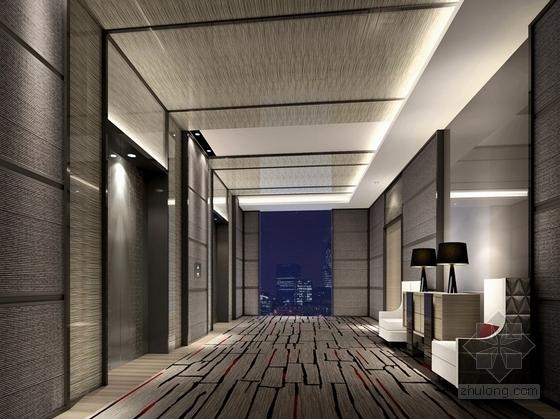 [福建]四星级现代温泉酒店室内装修设计方案客房电梯厅效果