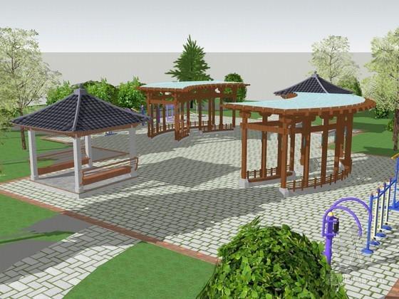 健身广场SketchUp模型下载-健身广场