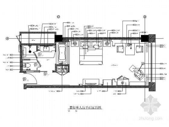 [内蒙古]高档欧式风格酒店会所客房装修CAD施工图(含效果图)