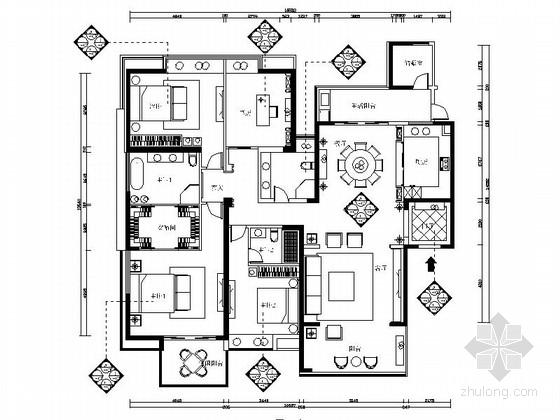 现代精致简约四居室样板间CAD装修施工图(含效果)