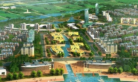 现代风格生态城市片区规划设计方案效果图