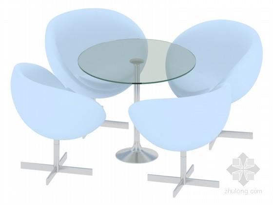 漂亮洽谈桌椅3D模型下载