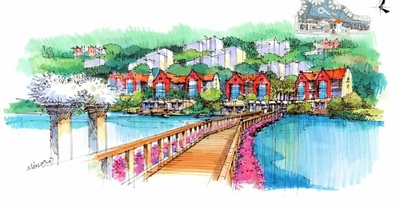 中心湖浮桥效果图