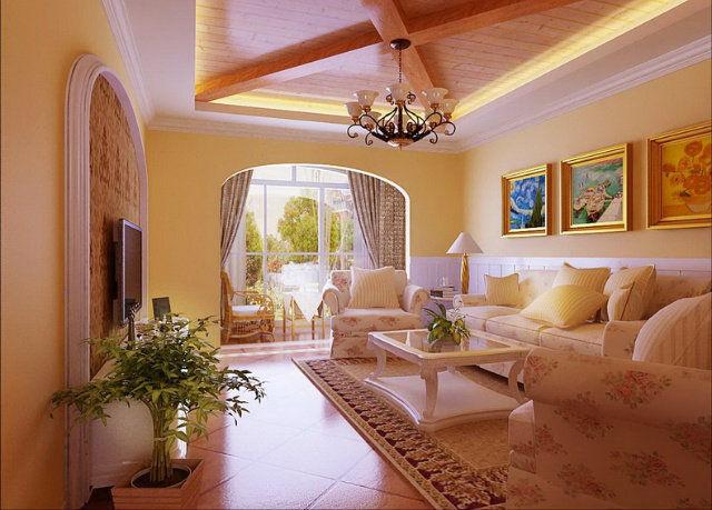 127平田园风格三室两厅客厅装修效果图