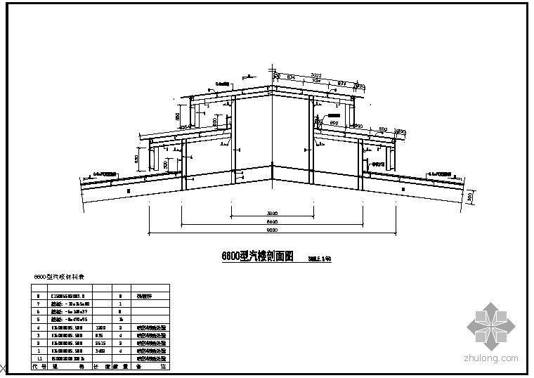 U型社区服务中心楼资料下载-某6600型汽楼结构节点构造详图