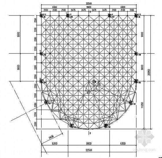 [山东]大型网架结构多功能厅屋面结构施工图