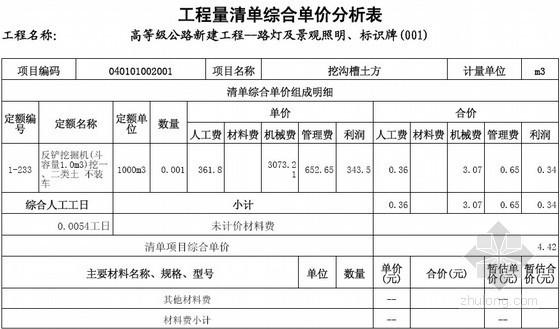 [江苏]2013年某新建高等级公路路灯工程量清单预算书(清单及措施项目费用分析)