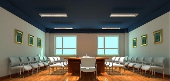 [沈阳]现代自然惬意楼盘物业办公室设计装修图(含效果)会议室效果图