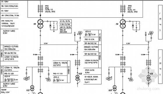 某工业园配电房到厂房及宿舍用电末端的系统图