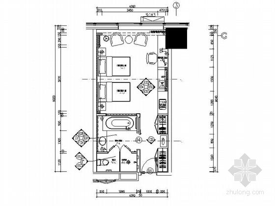 [河北]某五星级豪华酒店好莱坞双人间室内装修施工图