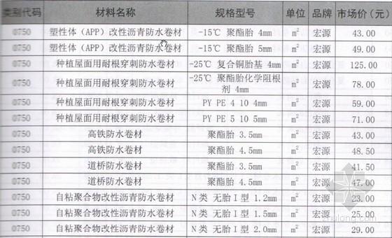 [2013年]6月防水材料及管材管件市场价格(含品牌及型号)