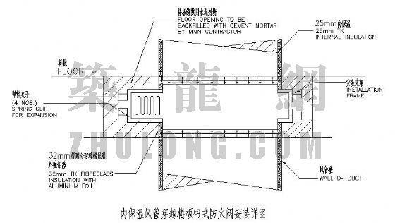 内保温风管穿越楼板帘式防火阀安装详图