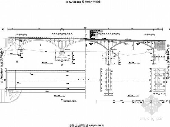 [山东]42m+42m+42m三跨空腹式拱桥设计图33张(2015年设计)