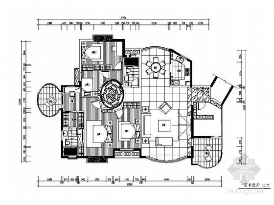 [深圳]生态小区现代风格四居室装修施工图(含效果图)