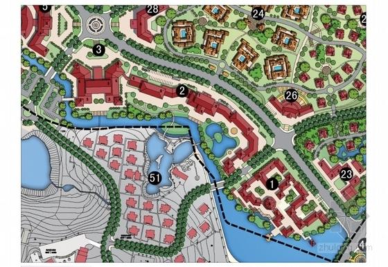[江苏]国际级综合性旅游度假区景观规划方案-分区平面图