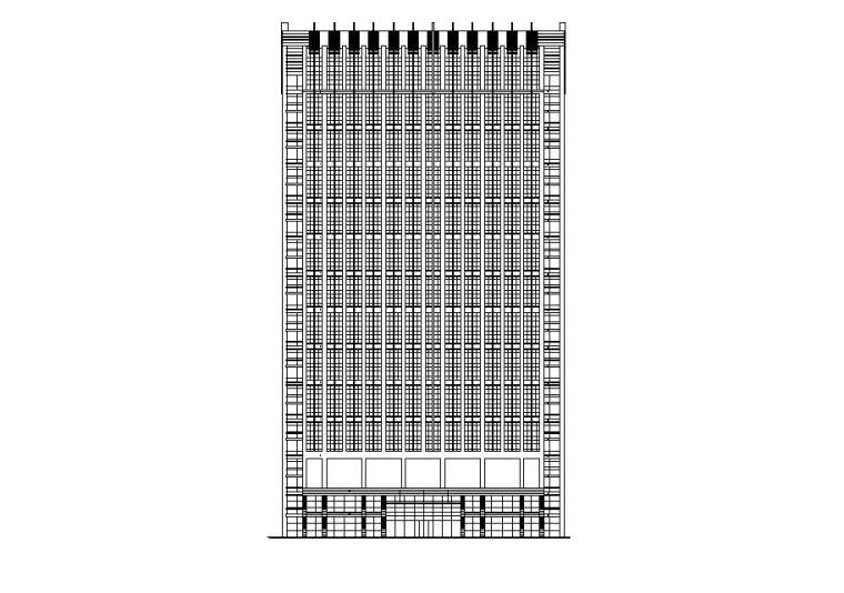 [宁夏]高层玻璃幕墙立面综合办公楼建筑施工图