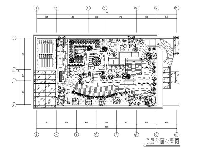 屋顶花园别墅庭院景观设计CAD施工图_7