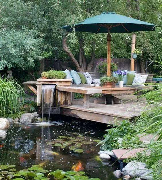 夏日,院中鱼池。