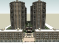 现代风格高层住宅小区规划设计SU精模型