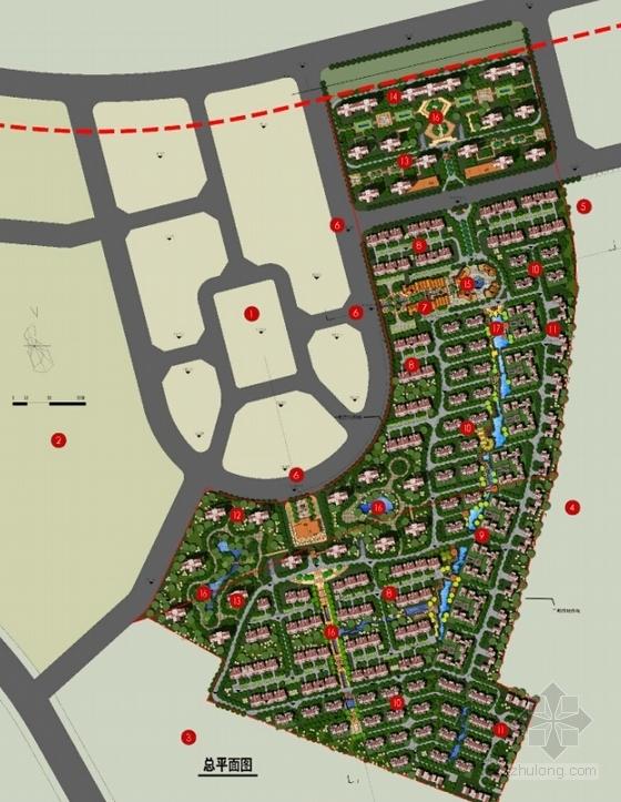 英式风格高档宜居别墅区规划设计总平面图