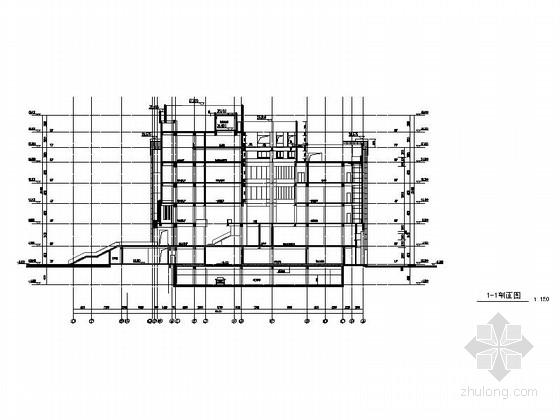 [上海]现代风格大学图书馆建筑施工图(甲级设计院含人防设计)-现代风格大学图书馆建筑剖面图