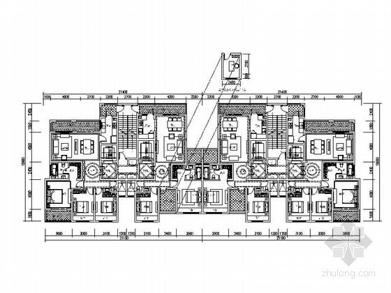某高层住宅小区两梯两户平面图(120 142平米)