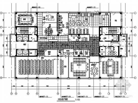 [成都]高端时尚现代广场办公楼装修设计施工图(含电图)