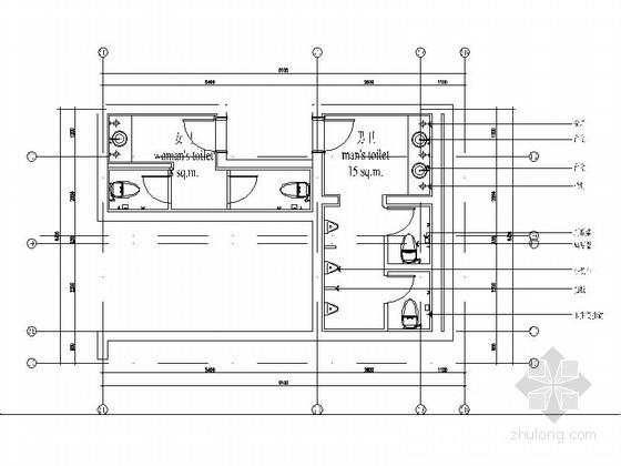 现代会所卫生间室内装修施工图