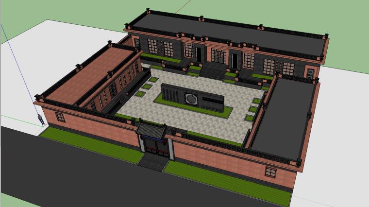 韩家大院中式合院su模型