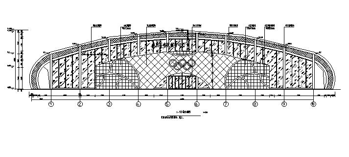 三层拱形屋面全民健身中心建筑平面图