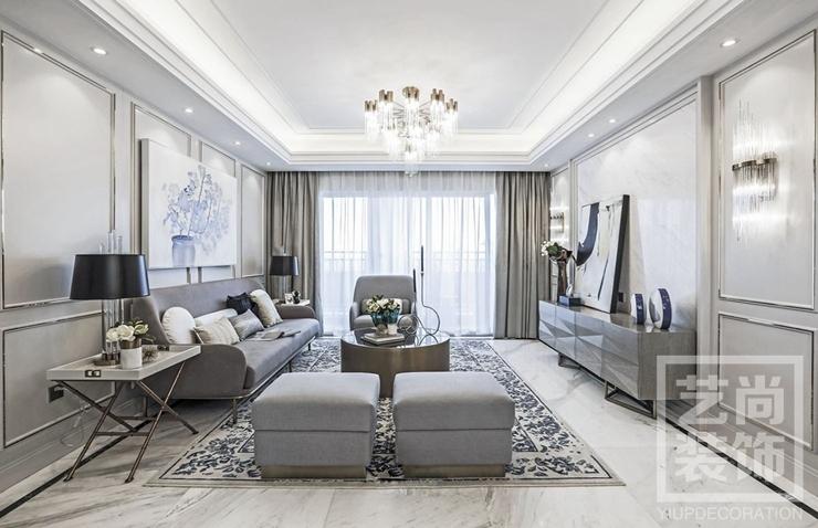 郑州绿都紫荆华庭130平方三室两厅现代简约样板间装修案例