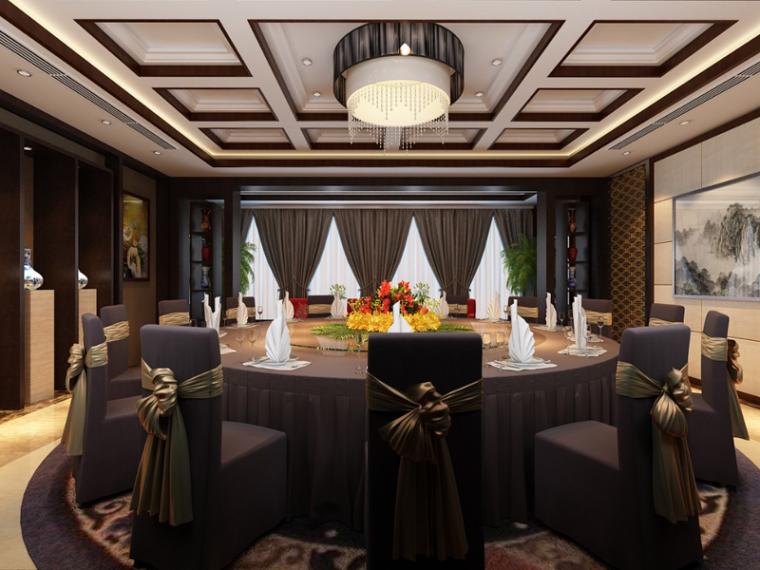 VIP大包厢3d模型资料下载-现代餐厅包厢3D模型下载
