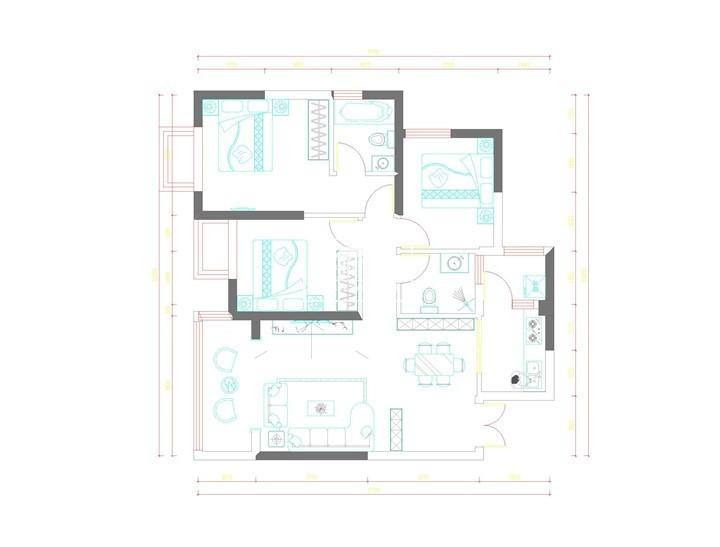 昆明建工新城M1户型98㎡ 现代风格装修案例